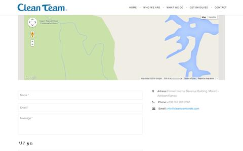 Screenshot of Contact Page cleanteamtoilets.com - Contact – Clean Team Ghana - captured Nov. 2, 2014