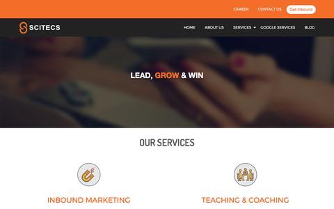 Screenshot of Services Page scitecs.com - Inbound Marketing Services| Teaching and Consultation | Scitecs - captured May 26, 2017