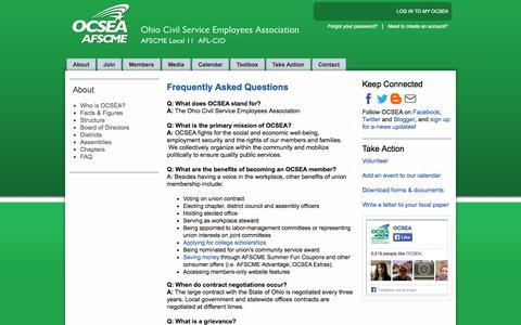 Screenshot of FAQ Page ocsea.org - Frequently Asked Questions - captured Oct. 7, 2014