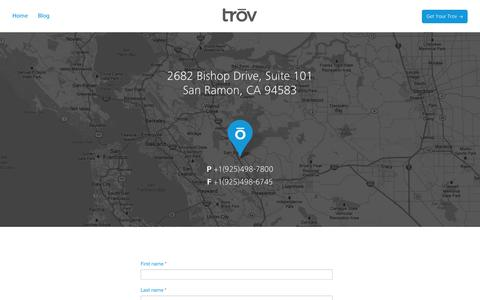 Screenshot of Contact Page trov.com - Contact Us | Trōv - captured Sept. 17, 2014