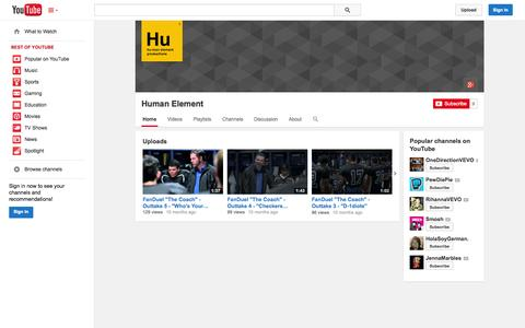 Screenshot of YouTube Page youtube.com - Human Element  - YouTube - captured Oct. 22, 2014