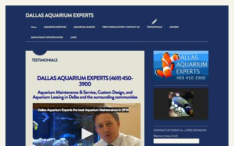 Screenshot of Testimonials Page northtexasaquarium.com - TESTIMONIALS   DALLAS AQUARIUM EXPERTS - captured Oct. 5, 2014