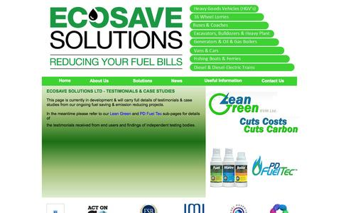 Screenshot of Case Studies Page ecosavesolutions.co.uk - Ecosave Solutions - Reducing Your Fuel Bills - captured Oct. 2, 2014