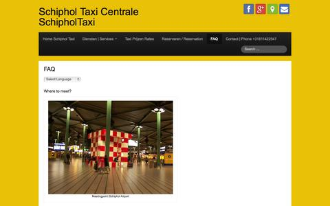 Screenshot of FAQ Page schiphol-taxicentrale.nl - FAQ | Schiphol Taxi Centrale SchipholTaxi - captured Oct. 4, 2014