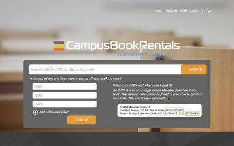 Screenshot of Home Page campusbookrentals.com - Rent Textbooks - Your College Textbook Rental Source - Campus Book Rentals - captured Jan. 19, 2016