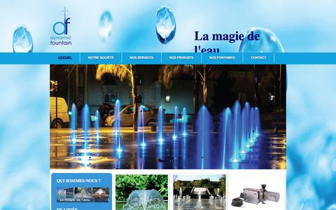 Screenshot of Home Page dynamicfountain.net - Dynamic Fontain La magie de l'eau ... - captured June 3, 2016