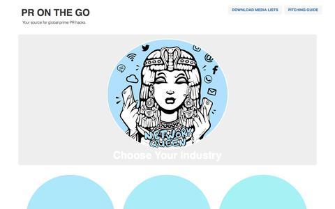 Screenshot of Home Page pronthego.com - PR ON THE GO - Your source for global prime PR hacks. - captured July 10, 2018