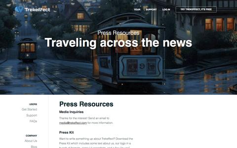 Screenshot of Press Page trekeffect.com - Press Resources | Trekeffect - captured Oct. 7, 2014