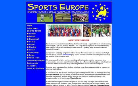Screenshot of About Page sports-europe.co.uk - About Sports Europe - captured Sept. 30, 2014