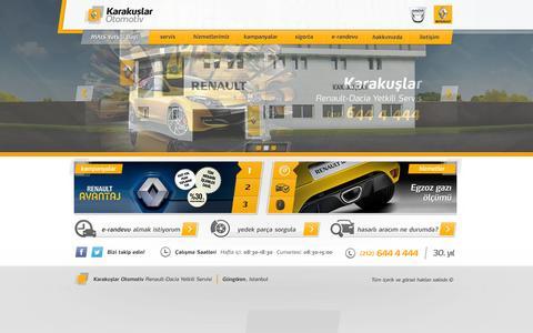 Screenshot of Home Page karakuslarotomotiv.com - Karakuşlar Otomotiv - Renault Yetkili Servisi - Dacia Yetkili Servisi - Renault Servisler - Renault - captured Oct. 6, 2014