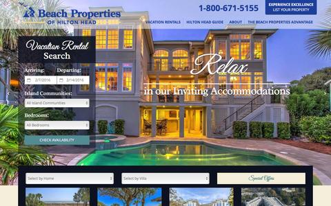 Screenshot of Home Page beach-property.com - Hilton Head Vacation Rentals ~ Beach Properties of Hilton Head ~ Official Site - captured Feb. 7, 2016