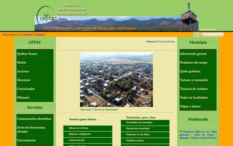 Screenshot of Home Page paramich.org - Asociación de Profesionistas Paracuarenses AC - Parácuaro - captured Oct. 12, 2015