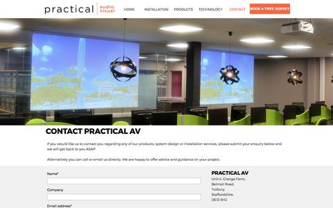 Screenshot of Contact Page practicalav.co.uk - Practical AV - Audio Visual Experts - Free surveys and advice. - captured Aug. 17, 2017