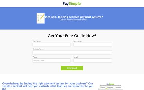 Screenshot of Landing Page paysimple.com - Download Payment Processing Evaluation Guide| PaySimple - captured Aug. 17, 2016