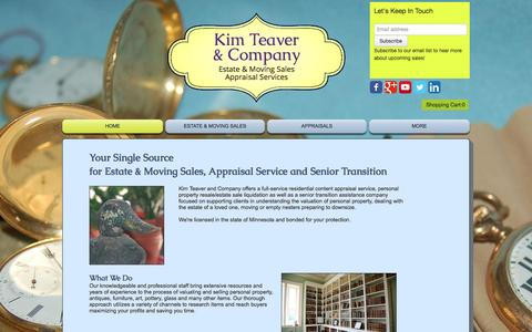 Screenshot of Home Page kimteaver.com - Estate Sales Moving Sale Company - captured Oct. 6, 2014
