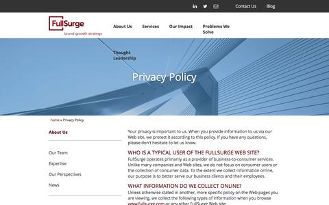 Screenshot of Privacy Page fullsurge.com - Privacy Policy - captured Jan. 8, 2016