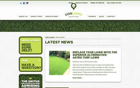 Screenshot of Press Page lionlawns.co.uk - Lion Lawns Blog & News: Artificial Grass & Gardening News - captured July 5, 2017