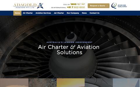 Screenshot of Home Page adagold.com.au - Aircraft Charter Australia | Sydney & Brisbane - captured Oct. 4, 2014