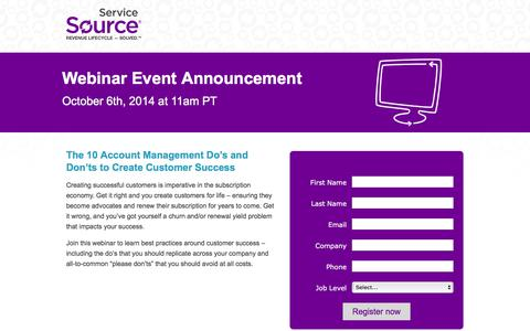 Screenshot of Landing Page servicesource.com - Webinar: 10 Account Management Do's and Don'ts to Create Customer Success - captured Sept. 11, 2017