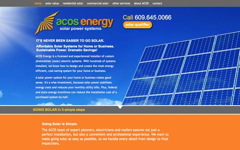Screenshot of Home Page acosenergy.com - Residential Solar Panels - captured Jan. 23, 2015