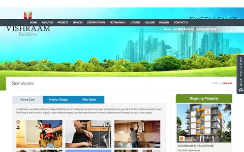 Screenshot of Services Page vishraam.com - Vishraam Builders - Premium Apartments, Flats, Villas in Thrissur, Kerala - captured Sept. 22, 2015