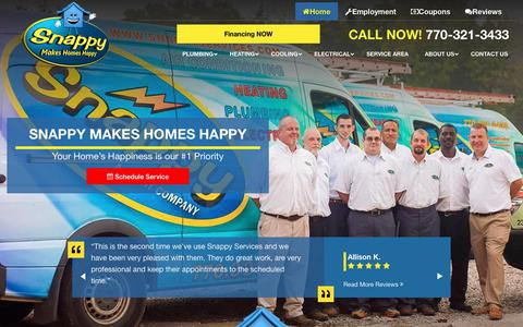 Screenshot of Home Page snappyservices.com - Snappy Electric, Plumbing, Heating, & Air: Marietta Plumbing & HVAC Services - captured April 18, 2019