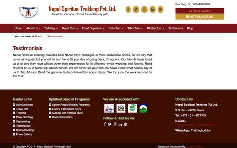 Screenshot of Testimonials Page nepalspiritualtrekking.com - Testimonials - captured Oct. 20, 2017