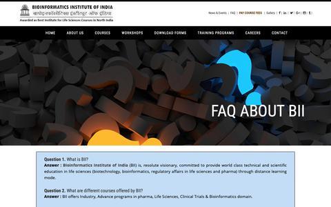 Screenshot of FAQ Page bii.in - Bioinformatics Institute of India - captured Oct. 5, 2018