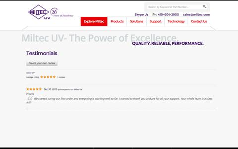 Screenshot of Testimonials Page miltec.com - Testimonials | Miltec UV - captured Feb. 27, 2016