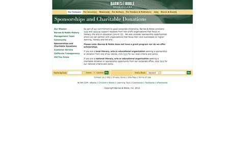 Screenshot of Landing Page barnesandnobleinc.com - Barnes & Noble Booksellers - captured Aug. 14, 2016