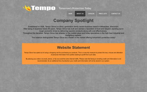 Screenshot of About Page tempoglove.com - TEMPOGLOVE | About - captured Oct. 24, 2018