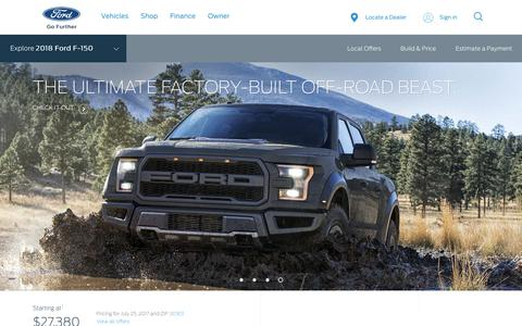 Screenshot of ford.com - 2018 Ford® F-150 Truck   America's Best Full-Size Pickup   Ford.com - captured July 25, 2017