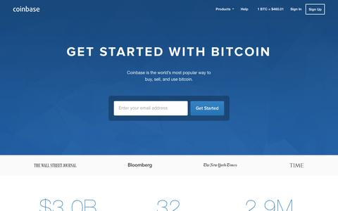 Screenshot of Home Page coinbase.com - Bitcoin Wallet - Coinbase - captured Dec. 18, 2015