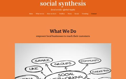 Screenshot of Home Page social-synthesis.com - Social Synthesis : {local social} = {global ripple}; innovative local social marketing platform - captured Aug. 15, 2016