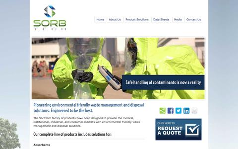 Screenshot of Products Page sorb-tech.com - Engineered, safe to handle spill control powder and liquid solutions for oil, water, and acids from SorbTech - captured May 21, 2016