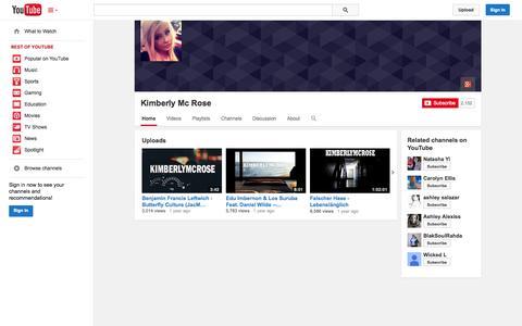 Screenshot of YouTube Page youtube.com - Kimberly Mc Rose  - YouTube - captured Oct. 30, 2014