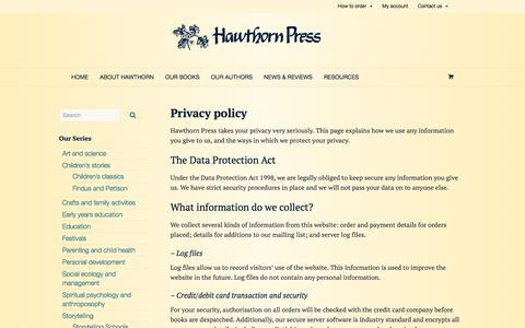 Screenshot of Privacy Page hawthornpress.com - Privacy policy - Hawthorn Press - captured April 2, 2017