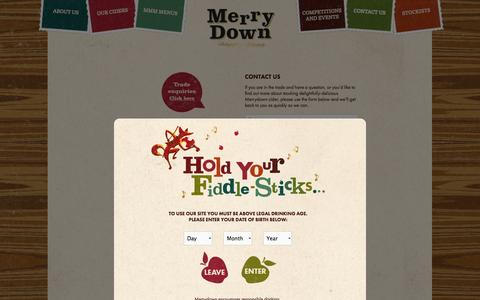 Screenshot of Contact Page merrydown.co.uk - Form - Merrydown Cider - captured Oct. 27, 2014