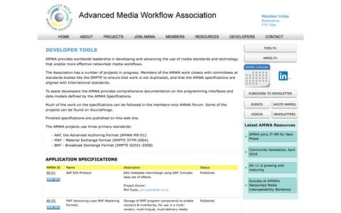 Screenshot of Developers Page amwa.tv - Developers | Advanced Media Workflow Association - captured June 10, 2016