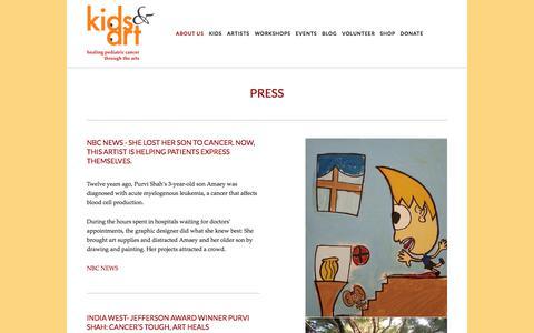 Screenshot of Press Page kidsandart.org - Press — Kids and Art Foundation - captured Oct. 17, 2017