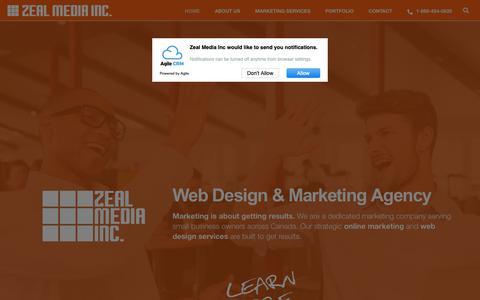 Screenshot of Home Page zealmedia.ca - Web Design & Marketing Agency Saskatoon | Zeal Media - captured Oct. 20, 2018