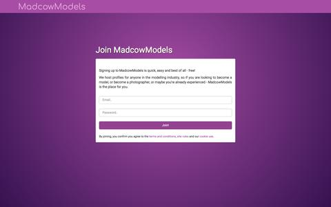 Screenshot of Signup Page madcowmodels.co.uk - Become a Model or Photographer | Join MadcowModels | MadcowModels - captured July 27, 2018