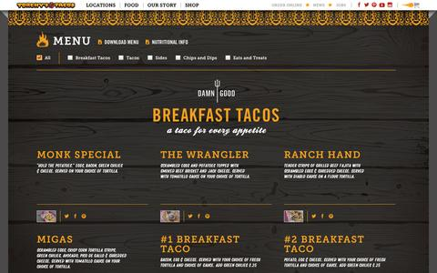 Screenshot of Menu Page torchystacos.com - Menu - Torchy's Tacos - captured Sept. 23, 2014
