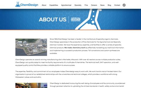 Screenshot of About Page chemdesign.com - Tolling Manufacturing | Process Safety Management | Toll Processor | Toll Processing | Global Chemical Resources | ChemDesign - captured May 16, 2017