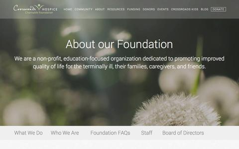 Screenshot of About Page crhcf.org - About our Foundation - captured April 23, 2016
