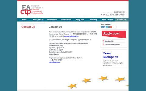 Screenshot of Contact Page eactp.eu - Contact Us | European Association of Turnaround Professionals - captured Oct. 28, 2014