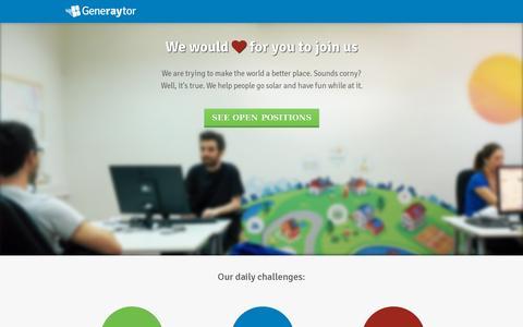 Screenshot of Jobs Page generaytor.com - Generaytor | Careers at Generaytor - captured July 19, 2014