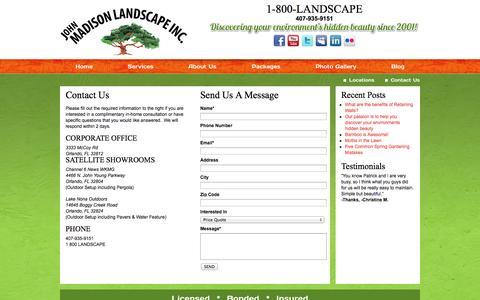 Screenshot of Contact Page johnmadisonlandscape.com - Contact Us | John Madison Landscape - captured Oct. 6, 2014