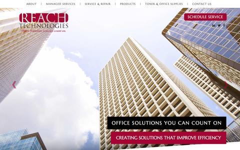 Screenshot of Home Page reach-technologies.com - Reach Printer Repair, Reach Managed Printing Services - Reach Technologies - captured Jan. 29, 2016