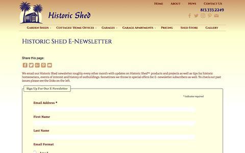Screenshot of Signup Page historicshed.com - Historic Shed E-Newsletter | Historic Shed | Florida - captured July 20, 2018